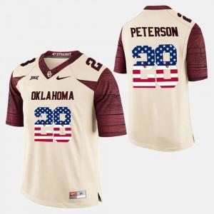 #28 Adrian Peterson OU Jersey White For Men's US Flag Fashion 246032-314