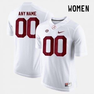White #00 Alabama Customized Jersey College Limited Football For Women's 238079-216