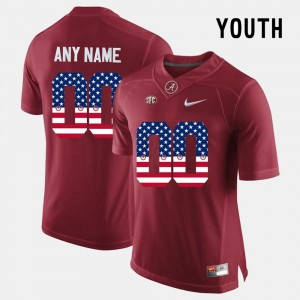Crimson #00 US Flag Fashion Alabama Custom Jerseys Kids 499149-149