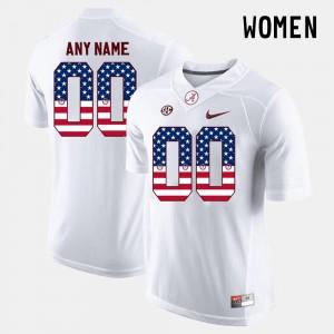 White For Women #00 Alabama Customized Jerseys US Flag Fashion 376757-960