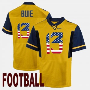 Andrew Buie WVU Jersey Mens #13 Gold US Flag Fashion 509166-811