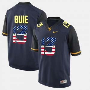 US Flag Fashion For Men Navy Blue Andrew Buie WVU Jersey #13 355903-282