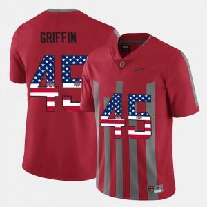 Archie Griffin OSU Jersey US Flag Fashion #45 Scarlet For Men's 222676-356