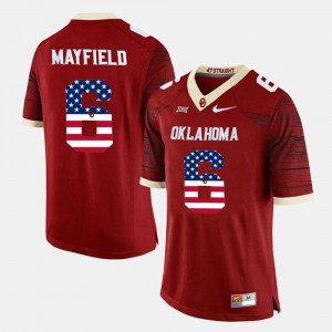 Mens #6 Baker Mayfield OU Jersey US Flag Fashion Crimson 118955-819