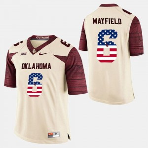 White #6 US Flag Fashion Baker Mayfield OU Jersey Men 994743-567