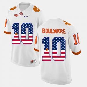 White #10 US Flag Fashion Ben Boulware Clemson Jersey For Men 868287-414