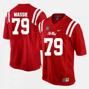 Alumni Football Game #79 Red For Men Bobby Massie Ole Miss Jersey 721332-788