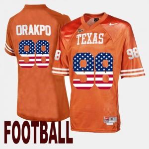 Men's Orange US Flag Fashion Brian Orakpo Texas Jersey #98 914721-336