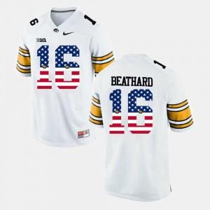For Men White C.J Beathard Iowa Jersey #16 US Flag Fashion 490903-828