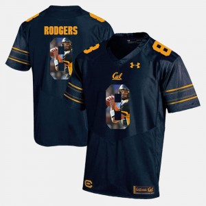 Player Pictorial #8 For Men's Aaron Rodgers Cal Bears Jersey Navy Blue 873373-408