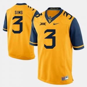 Mens Charles Sims WVU Jersey Gold #3 Alumni Football Game 395967-921