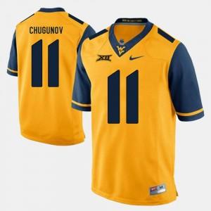 #11 Alumni Football Game Mens Gold Chris Chugunov WVU Jersey 789511-651
