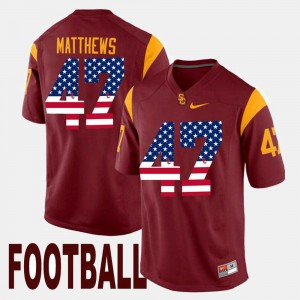Maroon US Flag Fashion Mens #47 Clay Matthews USC Jersey 382108-890