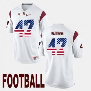 #47 Clay Matthews USC Jersey US Flag Fashion Men's White 997920-775