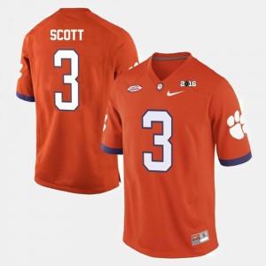 Artavis Scott Clemson Jersey #3 College Football Mens Orange 840532-261