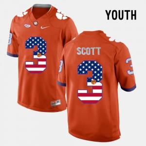 Orange #3 Youth(Kids) Artavis Scott Clemson Jersey US Flag Fashion 719966-975
