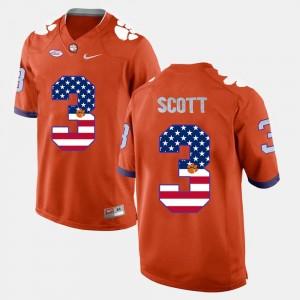 Men US Flag Fashion #3 Orange Artavis Scott Clemson Jersey 511680-456