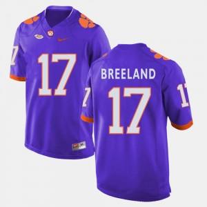 Bashaud Breeland Clemson Jersey College Football Purple #17 Mens 133263-871