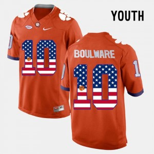 For Kids Orange #10 US Flag Fashion Ben Boulware Clemson Jersey 217646-452