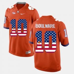 Ben Boulware Clemson Jersey Orange #10 Men's US Flag Fashion 215733-965