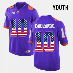 Purple Kids Ben Boulware Clemson Jersey #10 US Flag Fashion 767112-581