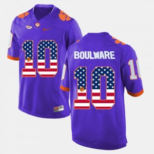 Purple For Men's Ben Boulware Clemson Jersey #10 US Flag Fashion 669033-768