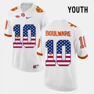 Ben Boulware Clemson Jersey #10 Youth White US Flag Fashion 906592-590