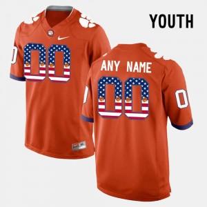 Clemson Customized Jersey #00 Kids US Flag Fashion Orange 504200-390