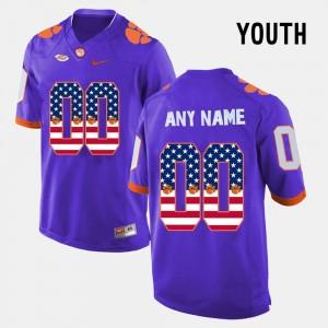 #00 Purple US Flag Fashion Youth Clemson Custom Jersey 733485-406