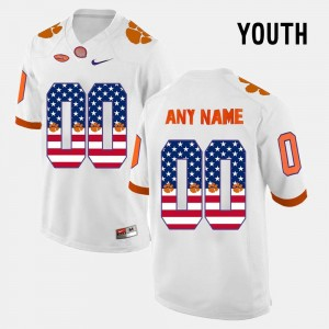 Clemson Custom Jerseys White Kids #00 US Flag Fashion 553957-453
