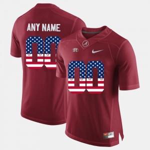 Alabama Customized Jerseys US Flag Fashion #00 Crimson Men's 562617-606