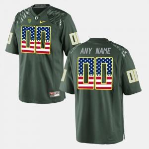 US Flag Fashion Mens #00 Oregon Custom Jerseys Green 910448-577