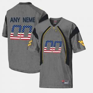 US Flag Fashion WVU Custom Jersey Grey Mens #00 865327-221