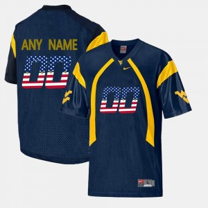 For Men's #00 US Flag Fashion Navy Blue WVU Customized Jersey 322866-547