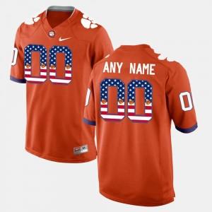 US Flag Fashion Orange Clemson Custom Jersey #00 Mens 221109-955