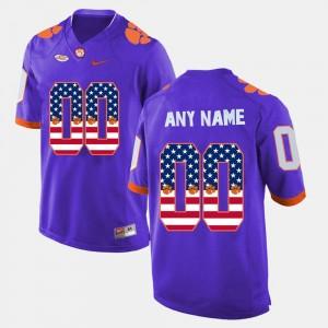 Clemson Custom Jersey US Flag Fashion Men #00 Purple 162659-825