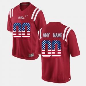 Ole Miss Custom Jerseys US Flag Fashion Red For Men #00 453179-690