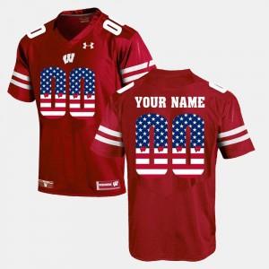 Wisconsin Custom Jerseys Red #00 US Flag Fashion Men's 890945-169