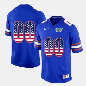 Royal Blue #00 US Flag Fashion Gators Customized Jerseys Mens 728487-921