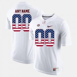 Alabama Customized Jersey Mens #00 US Flag Fashion White 977694-418