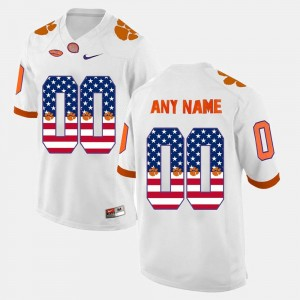 #00 Men's White Clemson Custom Jersey US Flag Fashion 334365-900