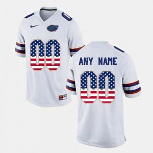 For Men US Flag Fashion #00 Gators Custom Jerseys White 972247-188
