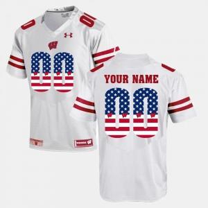 Men White US Flag Fashion Wisconsin Custom Jerseys #00 112992-253