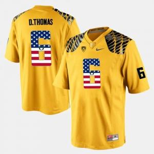 For Men's Yellow #6 US Flag Fashion De'Anthony Thomas Oregon Jersey 617380-532