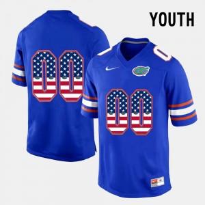 Blue US Flag Fashion Gators Customized Jerseys #00 Kids 292949-493