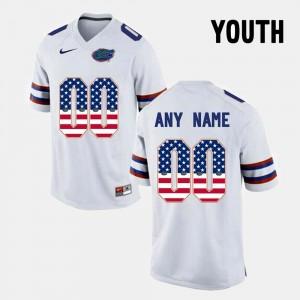 Youth(Kids) US Flag Fashion #00 White Gators Custom Jersey 566384-447