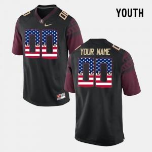 #00 Youth Black US Flag Fashion FSU Custom Jersey 408555-755