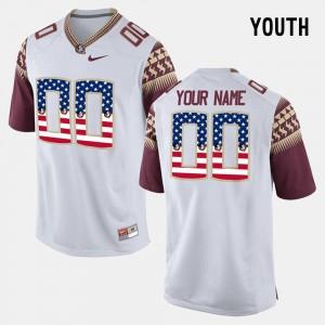 Youth White #00 FSU Customized Jerseys US Flag Fashion 827183-135