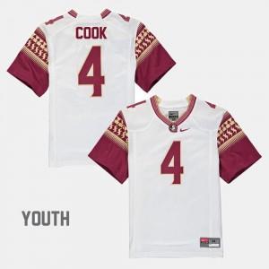 Alumni Football Game White Dalvin Cook FSU Jersey #4 For Kids 283141-683