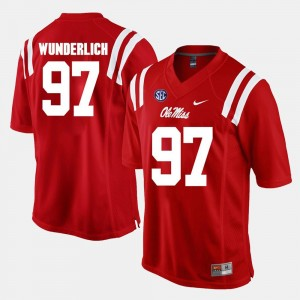 #97 Alumni Football Game Gary Wunderlich Ole Miss Jersey For Men's Red 491788-436